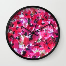 Red Poppy Plaid Wall Clock