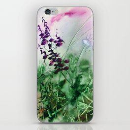 Wheat Grass, wild flowers, blooming, nature, original, watercolor, violet, blue, green, brown, wall iPhone Skin