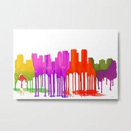 Tampa, Florida Skyline - Puddles Metal Print