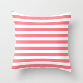 Strawberry Pink Sorbet Ice Cream Beach Hut Stripes Throw Pillow