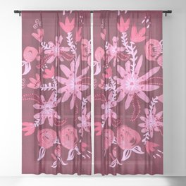 Cranberry Nocturne Rose Sheer Curtain