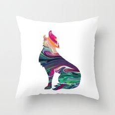 swirly wolf Throw Pillow