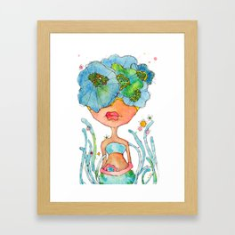 blue girl -- she's a gentle one. Framed Art Print