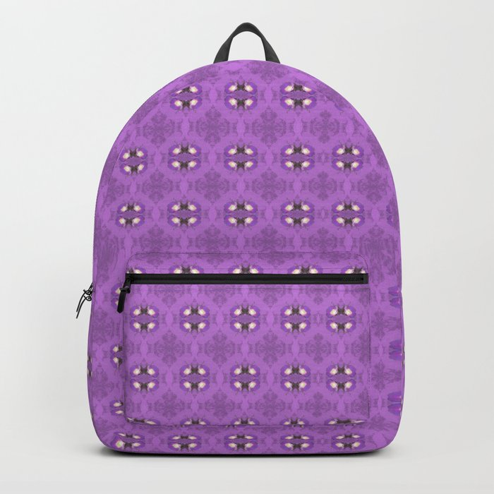 elegant curling fern, old fashioned rose pattern on purple Backpack