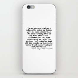 In my younger and more vulnerable years - F Scott Fitzgerald iPhone Skin