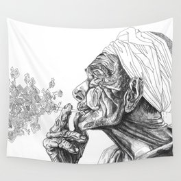 Geometric Graphic Black and White Smoker Drawing Wall Tapestry