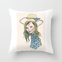 kate moss Throw Pillows featuring Kate Moss by Sindecualo