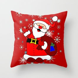 Santa Claus with snowflakes and Christmas Bag! Throw Pillow
