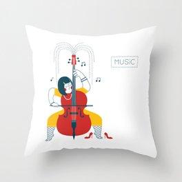 Cellist Throw Pillow