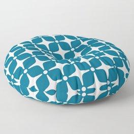 Mid Century Modern Star Pattern Peacock Blue 2 Floor Pillow