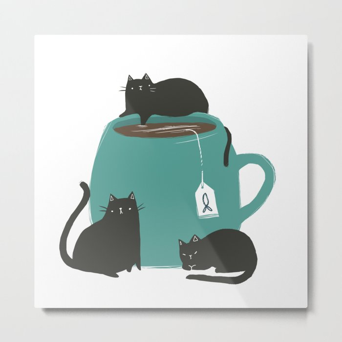 CATS + TEA Metal Print
