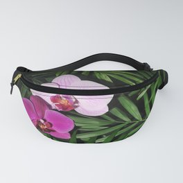 Orchids with palm leaves Fanny Pack