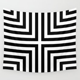 Simple Geometric Cross Pattern - White on Black - Mix & Match with Simplicity of life Wall Tapestry