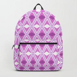 White and pink rhombus geometric pattern Backpack