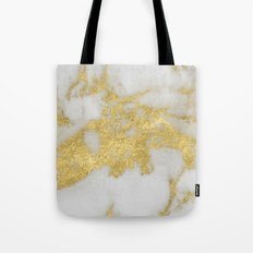 Marble - Yellow Gold Marble Foil on White Pattern Tote Bag