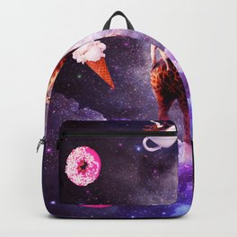Outer Space Pug Riding Giraffe Unicorn - Donut Backpack