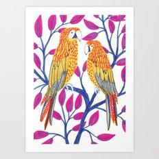Yellow Parrots Art Print