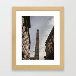 Two Towers, Bologna, Emilia Romagna, Italy, street photography, Torre degli Asinelli, italian city Framed Art Print