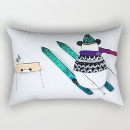 Pandas gone skiing Rectangular Pillow