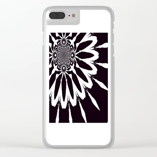 The Modern Flower Black & White Clear iPhone Case
