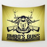 guns Wall Tapestries featuring Jimbo's Guns by Silvio Ledbetter