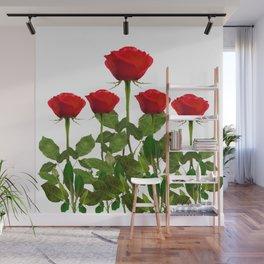ORIGINAL GARDEN DESIGN OF RED ROSES ON WHITE Wall Mural