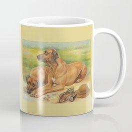 Rhodesian Ridgeback Dog portrait in scenic landscape Painting Coffee Mug