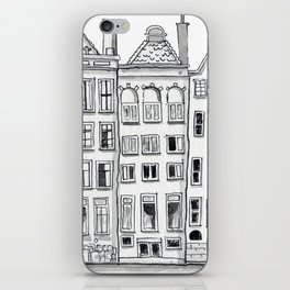 Amsterdam Canal Houses Sketch iPhone Skin