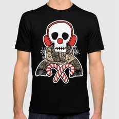 Stay Warm Holiday Skull Black Mens Fitted Tee MEDIUM