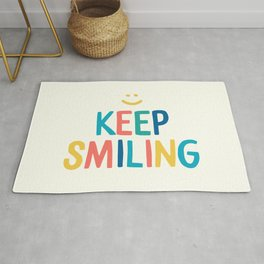 Keep Smiling - Colorful Happiness Quote Rug