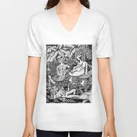 bisexual V-neck T-shirts featuring Psychedelic Visions of the Bisexual Shaman Chicks by cahill wessel