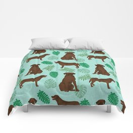 Chocolate Lab summer monstera tropical pure breed dog gifts Comforters