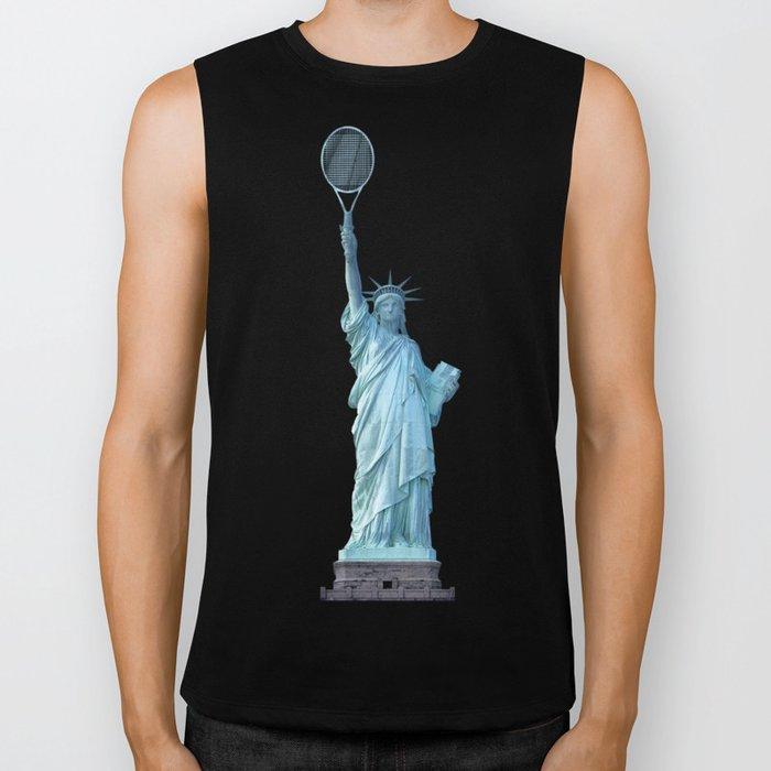 Statue of Liberty with Tennis Racquet Biker Tank