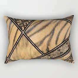 Bengal Tiger Fur with Ethnic Ornaments #1 Rectangular Pillow
