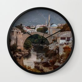 An Old bridge in Mostar Wall Clock