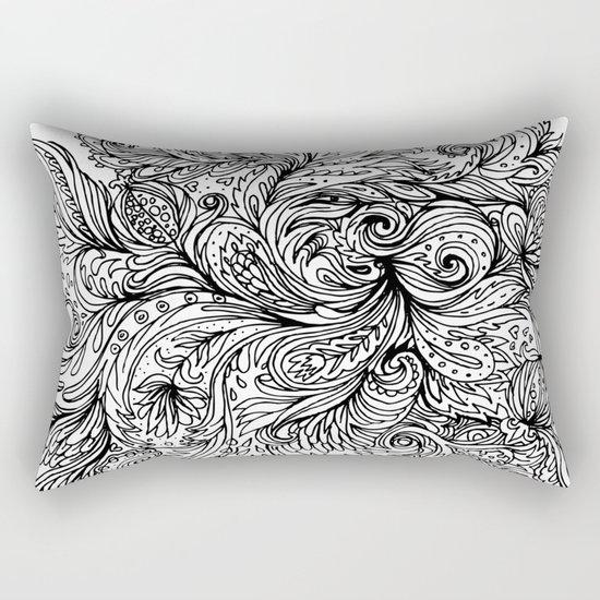 B&W Floral Indian Pattern Rectangular Pillow