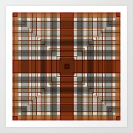 Burnt Sienna Plaid Pattern Art Print