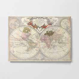 Vintage Map of The World (1775) 2 Metal Print