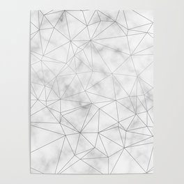 Marble Silver Geometric Texture Poster