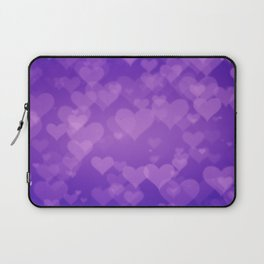 Soft Purple Hearts On Graduated Background. Valentines Day Concept Laptop Sleeve