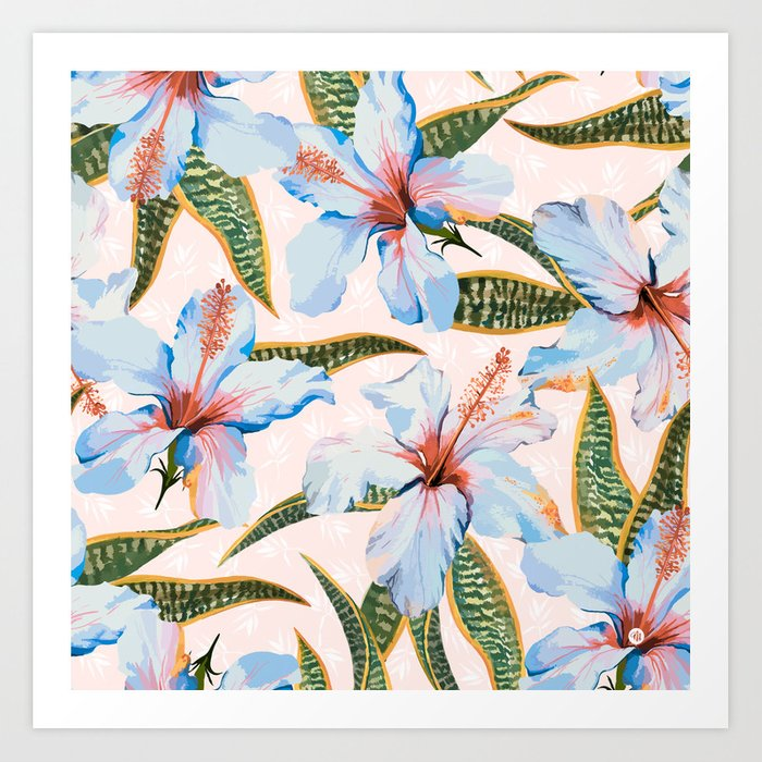 Tropical Pattern - Flowers and Plants Art Print