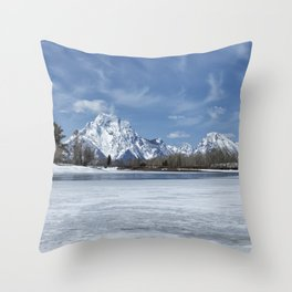 Grand Tetons and Snake River from Oxbow Bend Throw Pillow