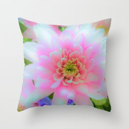 Bouquet in Blue and Pink 1 - enhanced Chrysanthemum Throw Pillow
