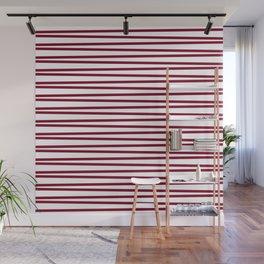 Dark red and white thin horizontal stripes Wall Mural
