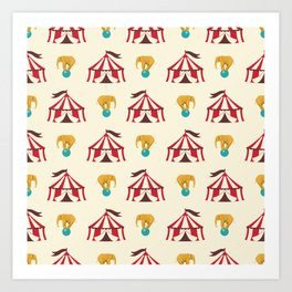 Circus With Performing Elephants Art Print