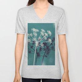 Twilight Stars. Botanical Macro Abstract in Blue. Unisex V-Neck