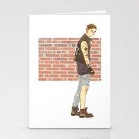 bucky barnes Stationery Cards featuring Bucky Barnes punk by maria euphemia