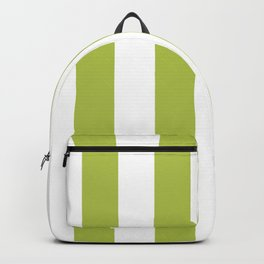 Avocado Green and White Vertical Cabana Tent Stripes Backpack