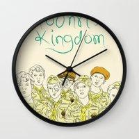 moonrise kingdom Wall Clocks featuring Moonrise Kingdom by Elly Liyana