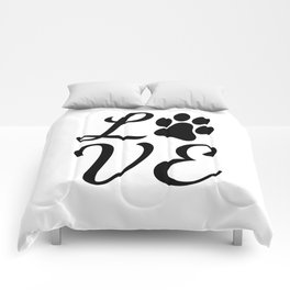 LOVE with a Paw Print replacing the O Comforters